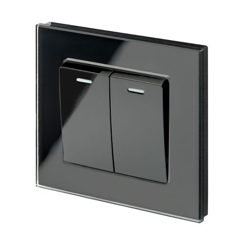 RetroTouch 2 Gang Intermediate 10A Rocker Light Switch Black Glass PG 00224